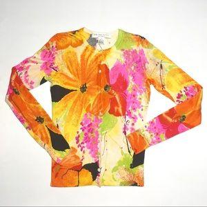 Trina Turk Silk Cashmere Blend Floral Cardigan S